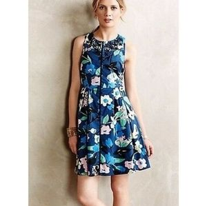 Anthropologie Whit Two Dress Floral Embroidery